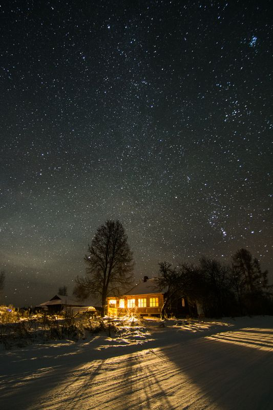 Зимняя ночь, звезды, деревня, Россия Зимняя ночь в деревнеphoto preview