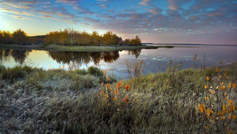 озеро, река, рассвет, осень: панорама, photo preview