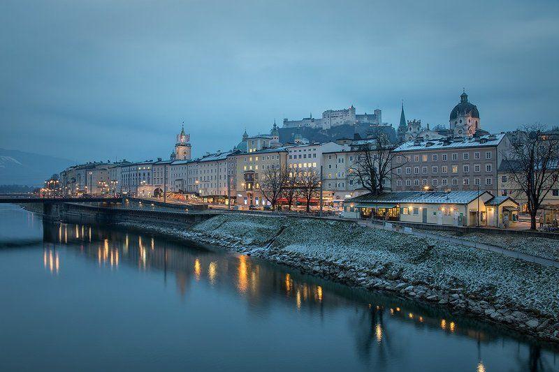 зальцбург, австрия, европа, зима Вечерний Зальцбургphoto preview