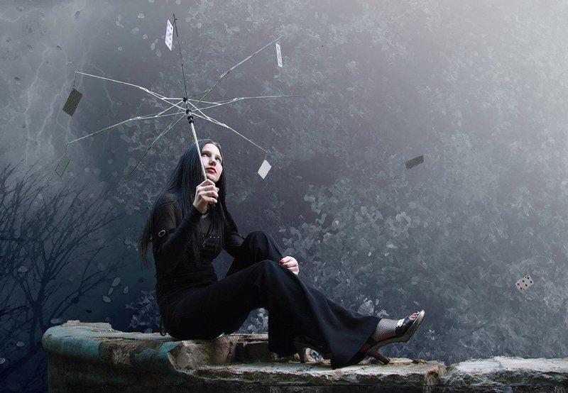 дождик, мысли, карты, зонт В дождике мыслейphoto preview