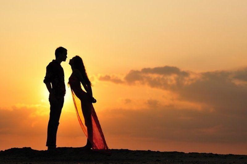 закат, двое, романтика закатphoto preview