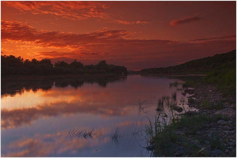 ока, закат, река, вечер Закат над Окойphoto preview