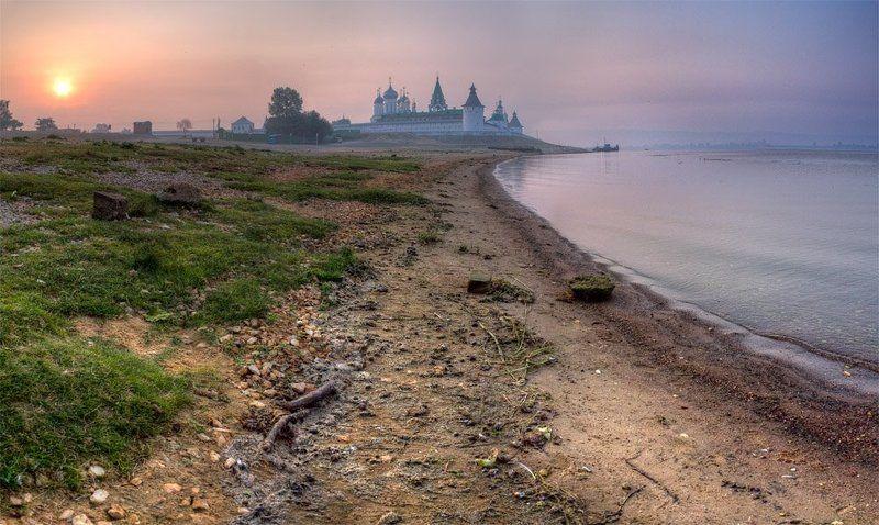 утро, рассвет, монастырь, река утро над монастыремphoto preview