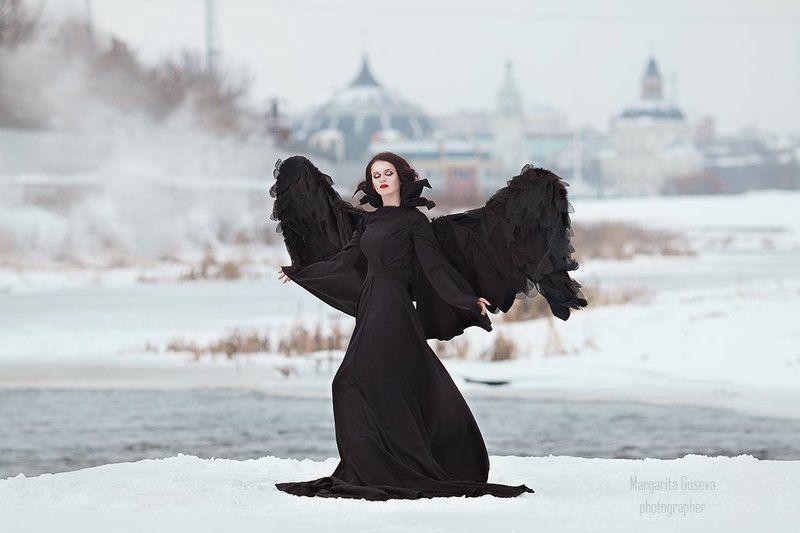 черный ангел black angel зима город храм церковь девушка крылья маргарита гусева Черный ангелphoto preview