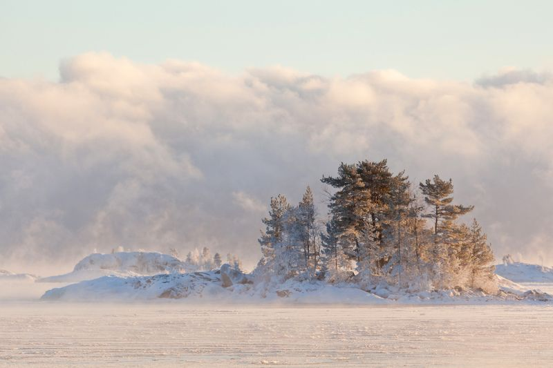 lake, winter, island, Russia, Karjala, Koionsaari, Venää Winterphoto preview