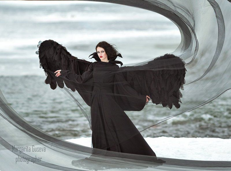 black, angel, sea, wings, черный ангел, крылья, море, маргарита гусева, гусева маргарита Черный ангелphoto preview