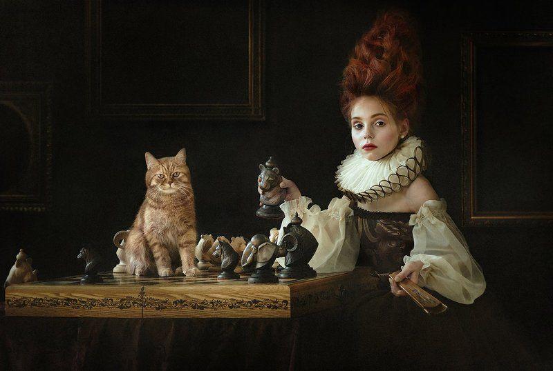шахматы, рыжий кот, игра, красная королева, сказка ***photo preview
