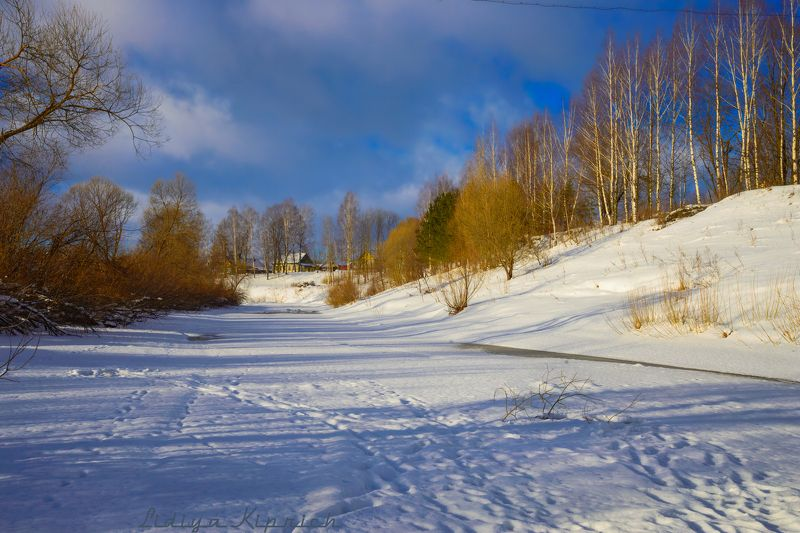 деревенский пейзаж, зима, зимний пейзаж, пейзаж, россия, снег синие тени на белом снегуphoto preview
