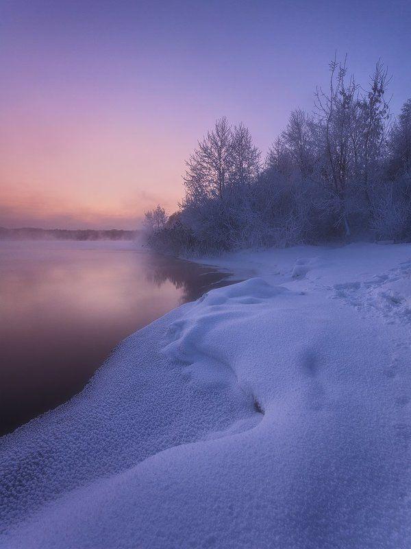 россия, подмосковье, шатура, пейзаж, природа, зима, рассвет, утро, мороз, снег, озеро, небо, вода, иней, пар Утреннее спокойствиеphoto preview