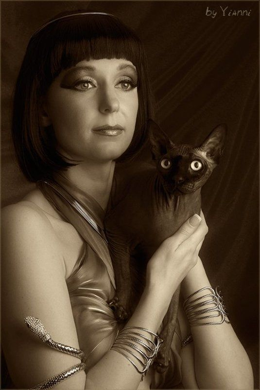 девушка, кошка, египет, egyptian Egyptianphoto preview