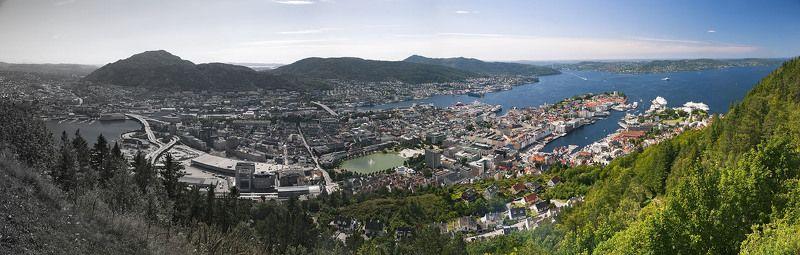норвегия, берген, пейзаж, панорама Градиентный городphoto preview