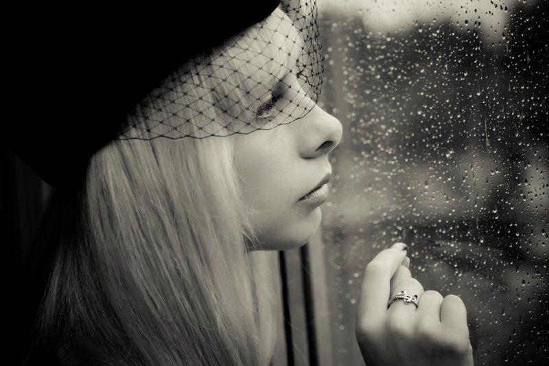 девушка, стекло, дождь, грусть Тебя...photo preview