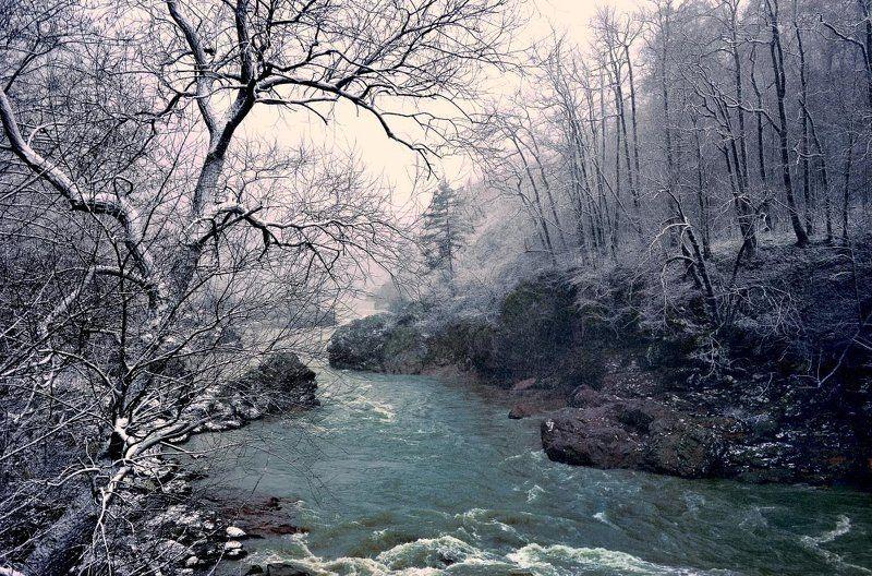 река , весна , пейзаж , восход , кавказ Падал мартовский снегphoto preview