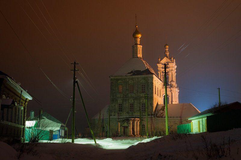 фото, ночь, зима, рязань, касимов, погост, архитектура, церковь Ночной Погостphoto preview
