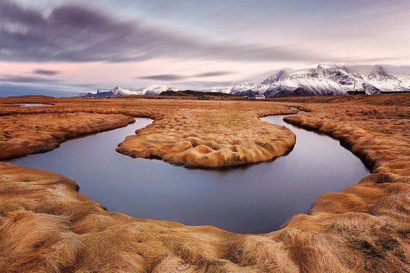 mountain, water nature, landscape, long exposure Fredvang Horseshoephoto preview