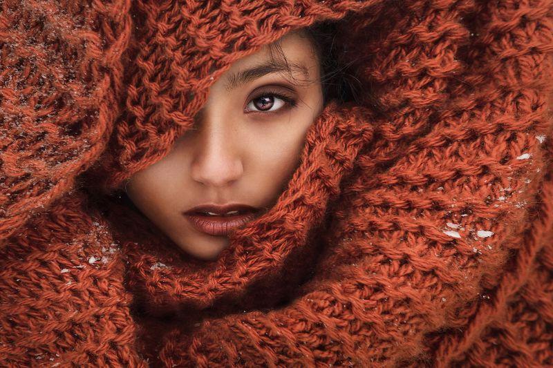 портрет, мулатка,шарф, photo preview