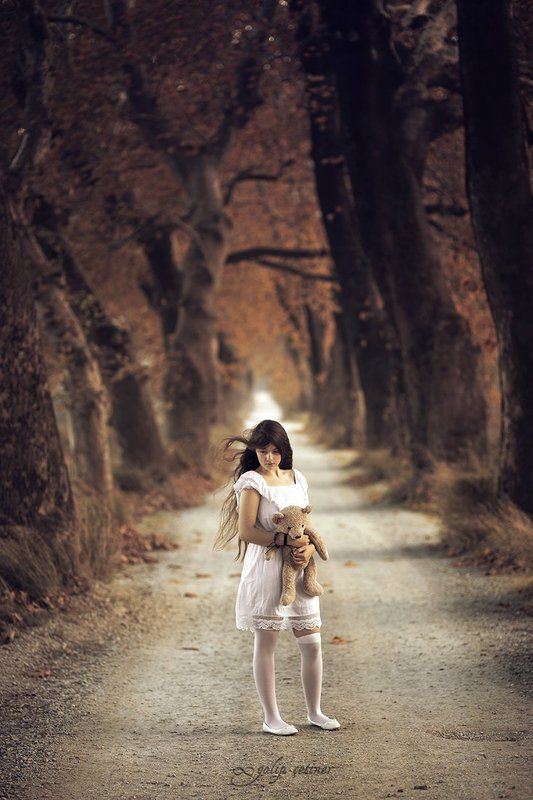 child, childhood, toy, girl, girls, pure, forest, concept, conceptual, innocent, autumn misplaced childhood 01photo preview