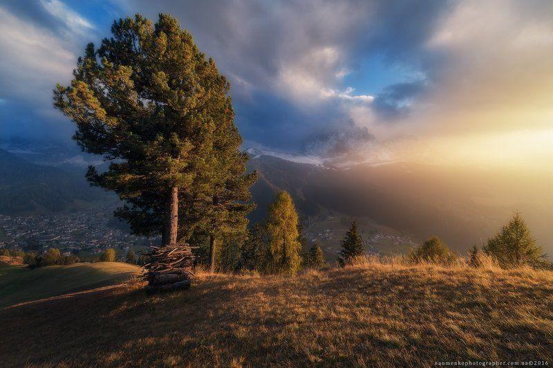 гардена, италия, доломиты, cассолунго, сельва, горы, долина, альпы, пейзаж, небо, путешествия, природа, курорт, юг, доломитовые, альпийский, синий, горы, тироль, трентино, ортизеи, пик, рок, высокий, осень, европа, снег, облака, вид, панорама, деревня Италия. Доломиты. Вечерний свет у деревни Selva di Val Gardenaphoto preview