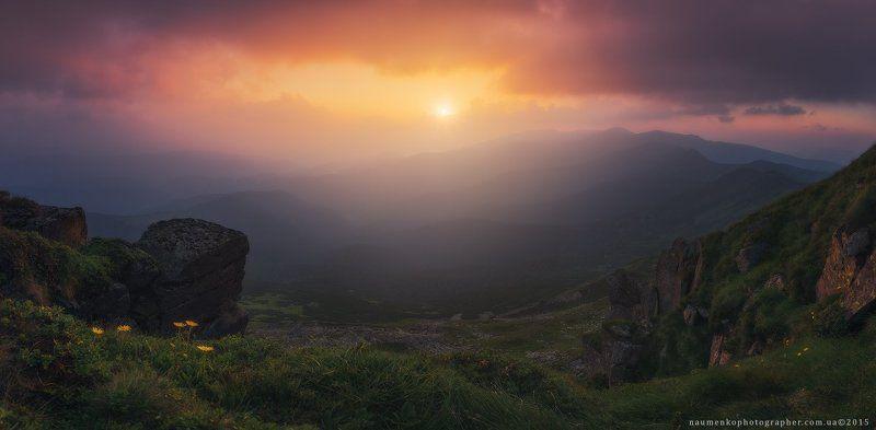 пейзаж, горы, природа, лес, небо, путешествия, красивый, лето, зеленый, украина, трава, дерево, фон, парк, естественный, луг, гора, сезон, красота, цвет, солнце, свет, свежий, карпатский, идиллический, карпаты, карпатские, синий, туризм, вид, холм, время, Украина. Карпаты. Закат солнца над Черногорским хребтомphoto preview