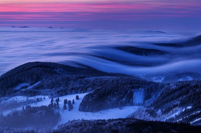 Czech Republic, Lusatian mountains, blue hour, frozen, north bohemia, europe, travel, mountains, ještěd Blue Hour in Lusatian mountains - Czech Republicphoto preview