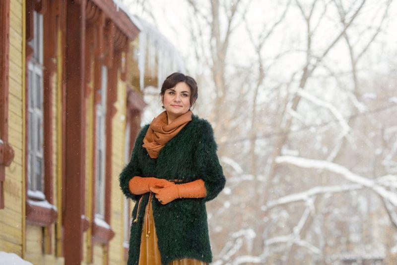 зима девушка собаки Светланаphoto preview