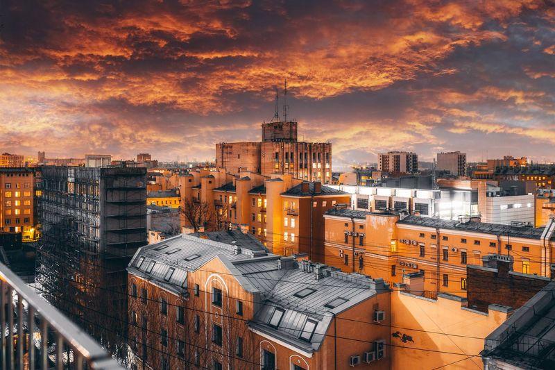питер, двор, небо, спб. NoManSkyphoto preview
