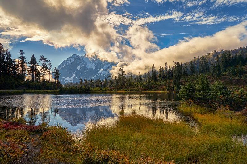 озеро, горы, отражение, деревья, трава, облака, лето, пейзаж Picture Lakephoto preview