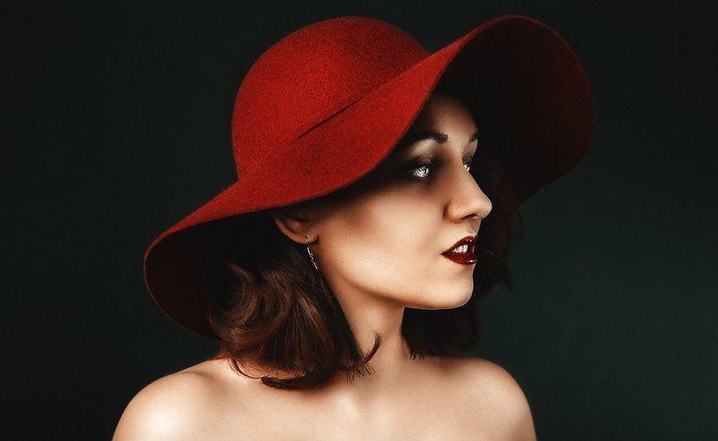 шляпа, контраст, портрет, студия, свет, цвета, яркий, женский портрет, женщина, в студии, постановка мphoto preview