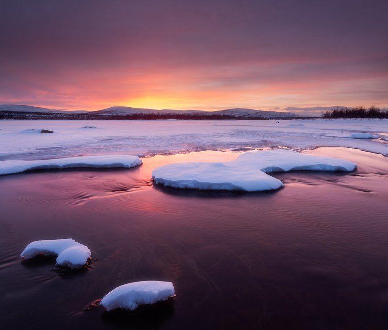 lapland, finland, polar,sunset Закат в лапландииphoto preview