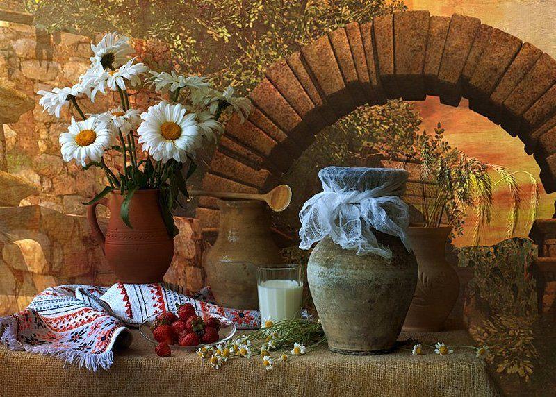 funtry, букет, ваза, глечики, горшки, дача, дерево, керамика, клубника, колоски, композиция, лето, ложка, мешковина, молоко, натюрморт, ромашки, рушник, стакан, цветы Летний, деревенскийphoto preview