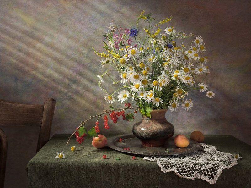 цветы,ромашки, фрукты,лето С полевыми цветами..photo preview