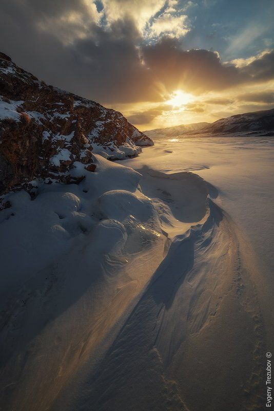 байкал, закат, солнце, облака, снег, наплески, лед Байкальские дюныphoto preview