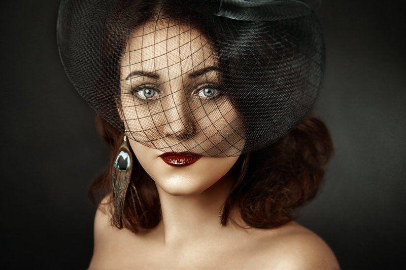 винтаж, аксессуар, шляпа, сетка, свет, студия, портрет, женский портрет, в студии, мягкий свет, постановка, крупный портрет винтажphoto preview