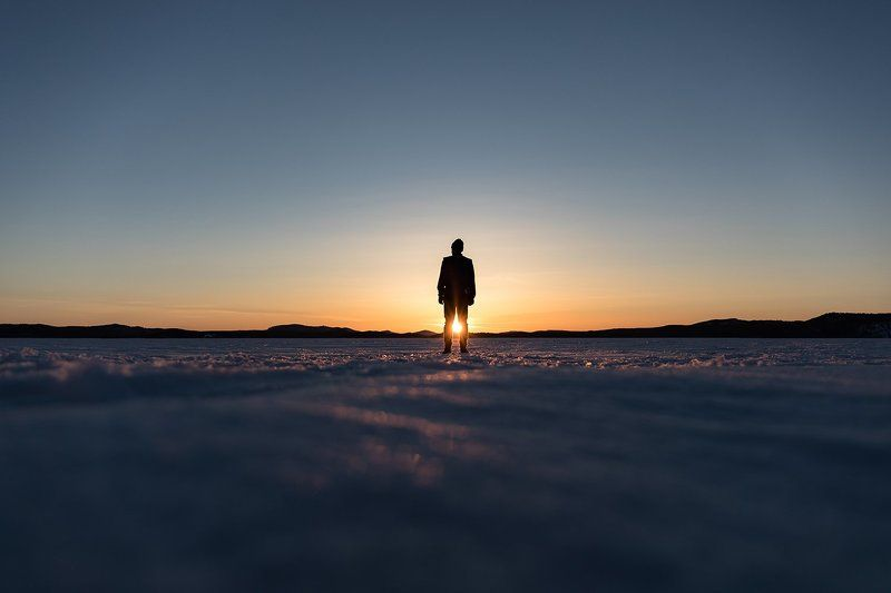 sunset, sky, mountains, men, snow, siberia, river Sunsetphoto preview