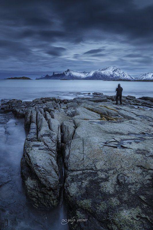 landscape, seascape, long exposure, lofoten, norway, cloud, rock, sea, blue, mountain Blue day in Lofotenphoto preview