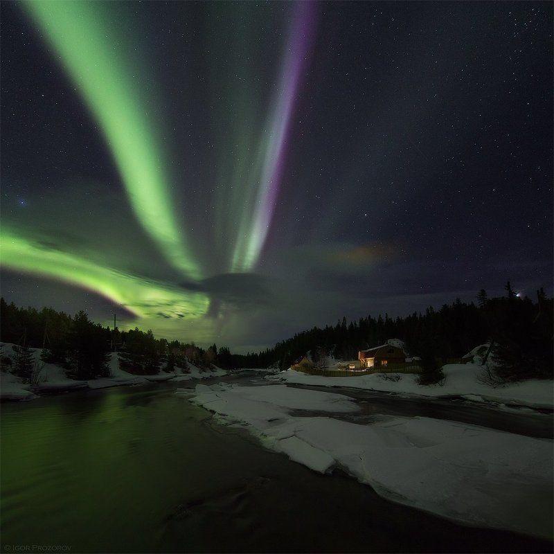 северное сияние, полярное сияние, ночная фотография, колвица Ночь на берегу Колвицы.photo preview
