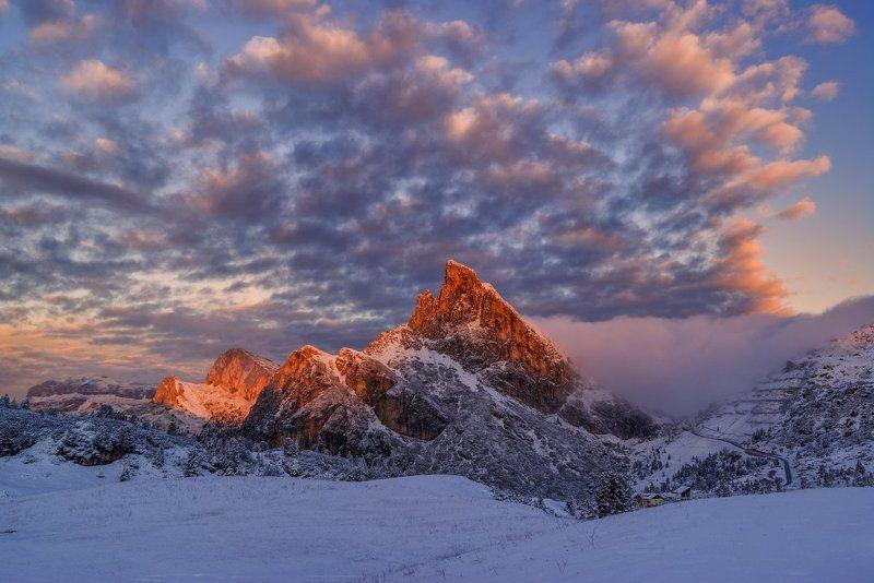 Italy, Dolomites, South Tyrol, mountains, clouds, passo Falzarego, snow, frost Dolomiresphoto preview
