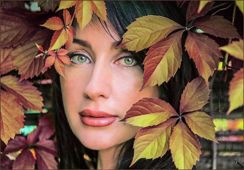 девушка, портрет, листья Моника-2photo preview