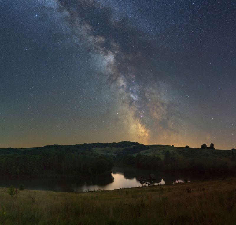 ночь, пруд, небо звезды, млечный путь, небо Млечный путьphoto preview