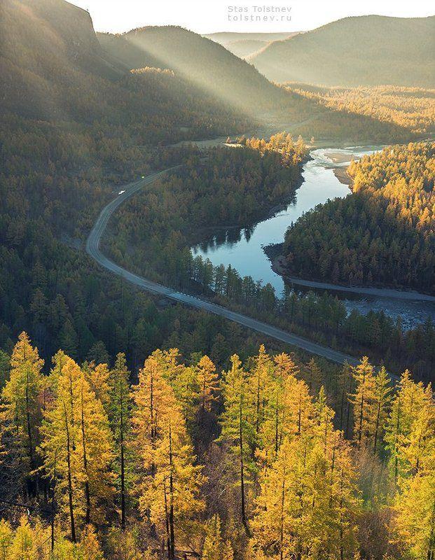 Восход, дорога и рекаphoto preview