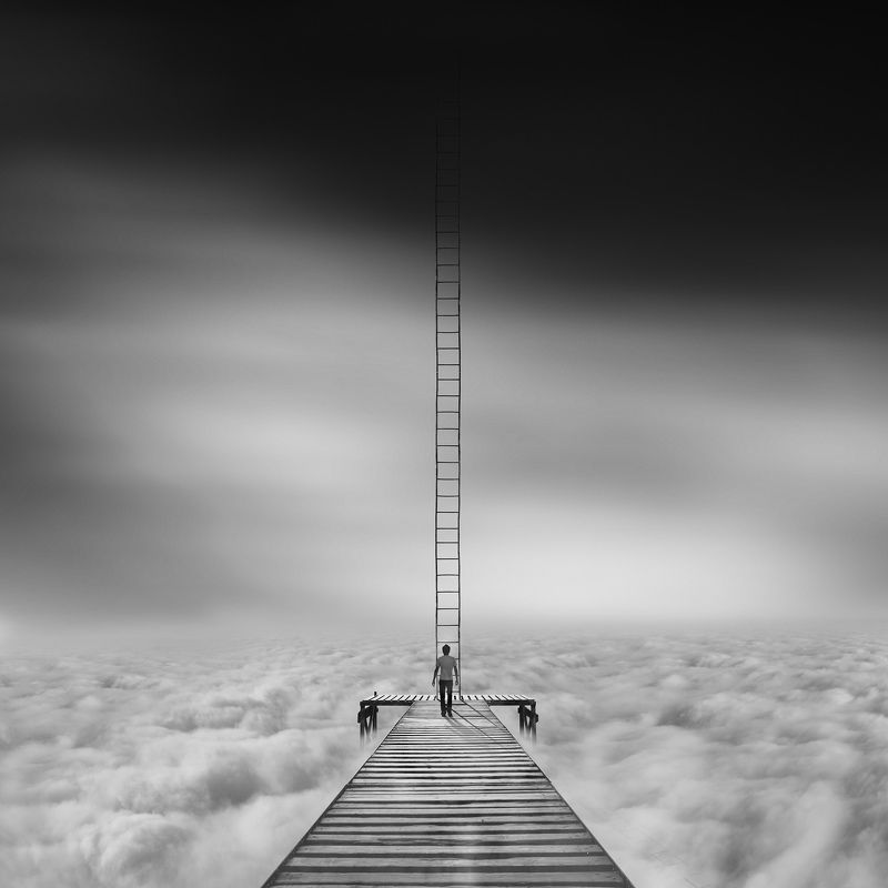conceptual, fineart, creative, ladder, human, cloud, minimal, When clouds fall in love, I\'m the happiestphoto preview