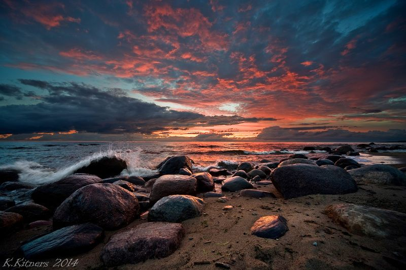 sea seascape water sky clouds stone reflection sunset evening latvia The Sunset Colorsphoto preview
