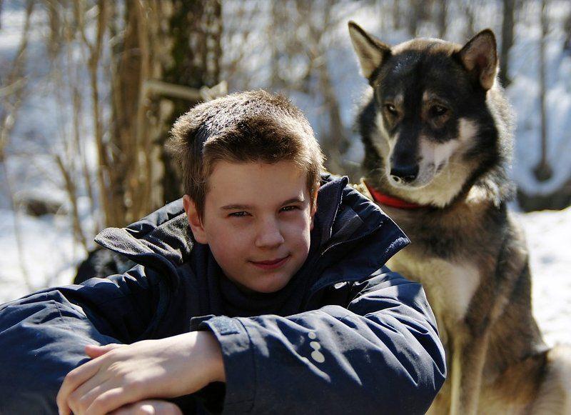 мальчик, собака, взгляд Два взглядаphoto preview