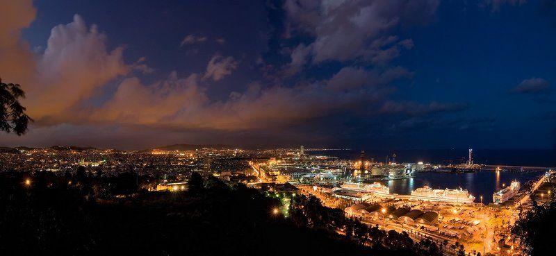 spain , catalunya , costa brava , barcelona Панорама ночной Барселоныphoto preview
