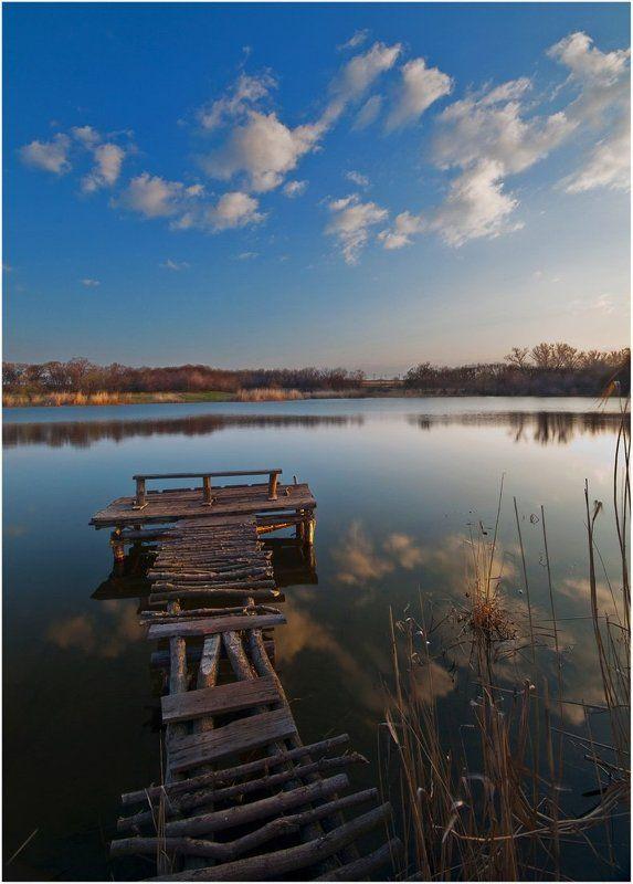 мостик, озеро, штиль, облака ***photo preview