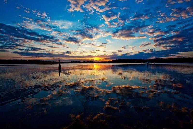 закат, выборг, вода, камни, солнце, небо, облака зеркалоphoto preview