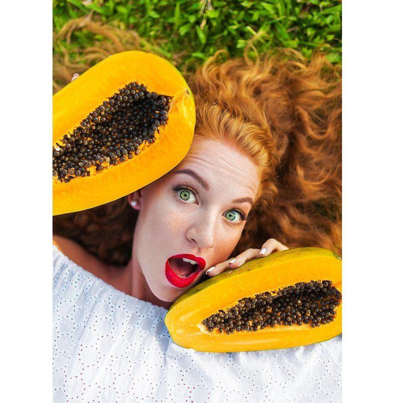 портрет фрукты девушка тропики Софи Папаяphoto preview
