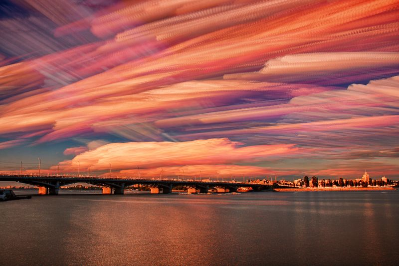 Пейзаж, красота, закат, облака, небо Акварельные облакаphoto preview
