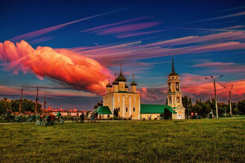 природа, пейзаж, красота, рассвет, закат, небо, облако, облака Акварельphoto preview
