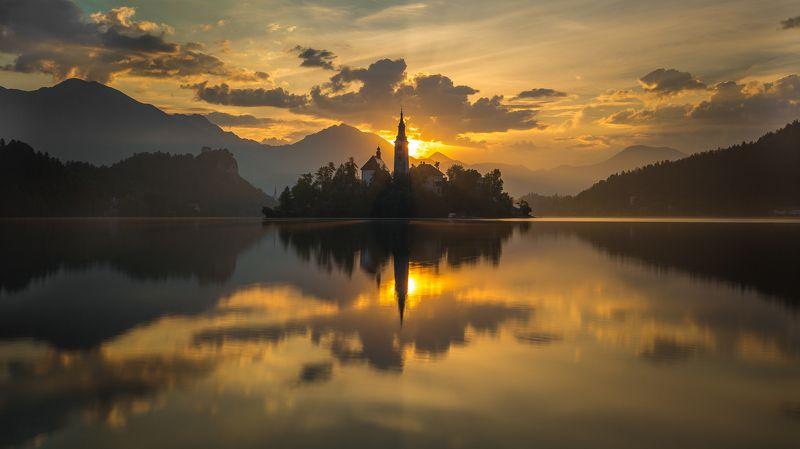 утро озеро солнце блед Sunrise in Bledphoto preview